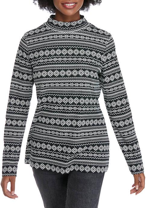 Kim Rogers® Womens Long Sleeve Mock Neck T-Shirt