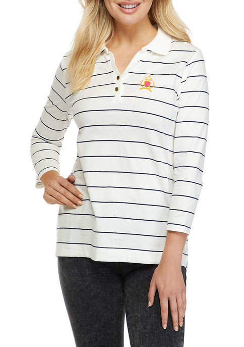 Kim Rogers® Womens 3/4 Sleeve Polo Shirt