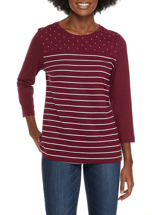 Kim Rogers® Womens 3/4 Sleeve Placed Print T-Shirt