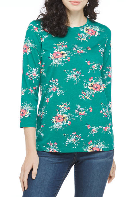 Kim Rogers® Womens 3/4 Sleeve Crew Neck Printed
