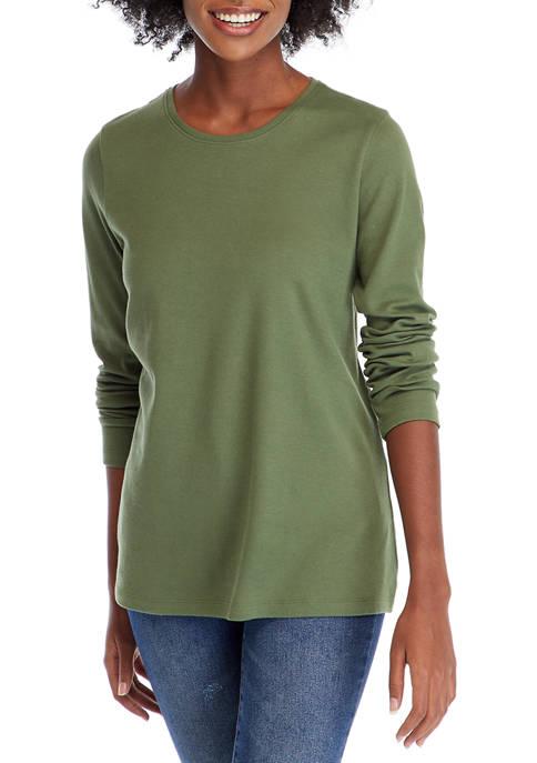 Womens Solid Long Sleeve Shirt