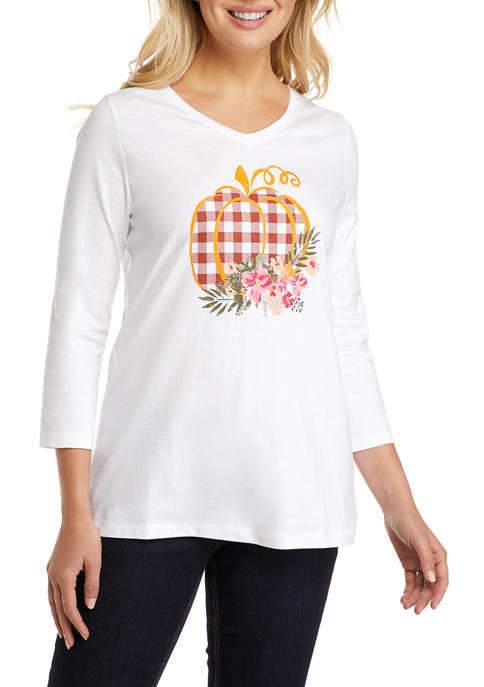Kim Rogers® Womens 3/4 Sleeve Hello Fall Shirt