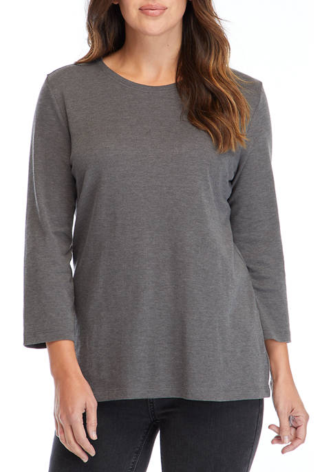 Kim Rogers® Womens 3/4 Sleeve Crew Neck Heather