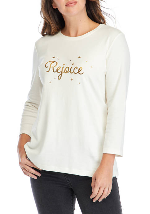 Womens 3/4 Sleeve Graphic Top