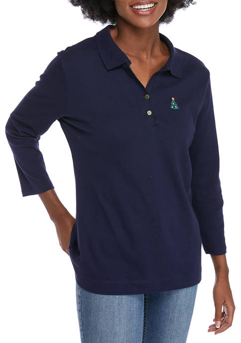 Womens 3/4 Sleeve Embroidered Polo Shirt