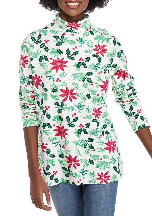 Kim Rogers® Womens Long Sleeve Printed Turtleneck Top