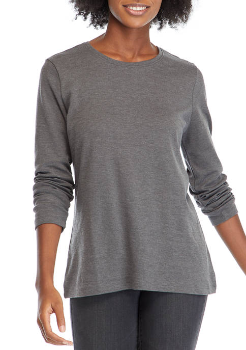 Kim Rogers® Womens Long Sleeve Heather Top