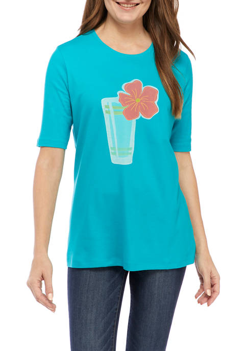 Kim Rogers® Womens Perfectly Soft Crew Neck Graphic
