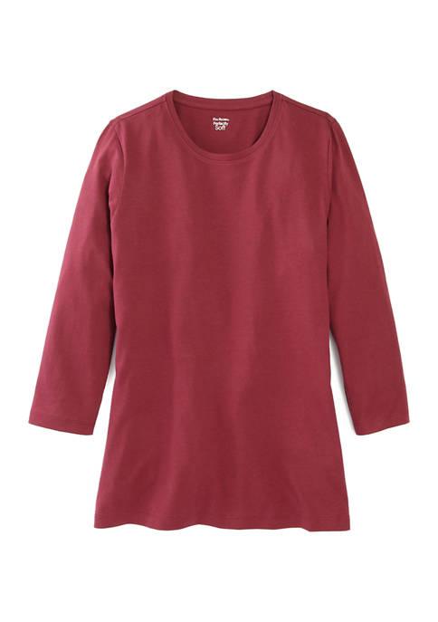 Kim Rogers® Womens Perfectly Soft 3/4 Sleeve Crew