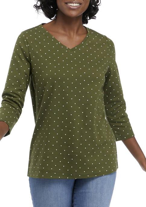 Kim Rogers® Womens 3/4 Sleeve Polka Dot Top