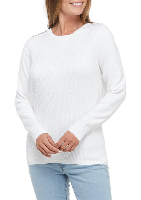 Kim Rogers® Womens Button Cable Knit Sweater