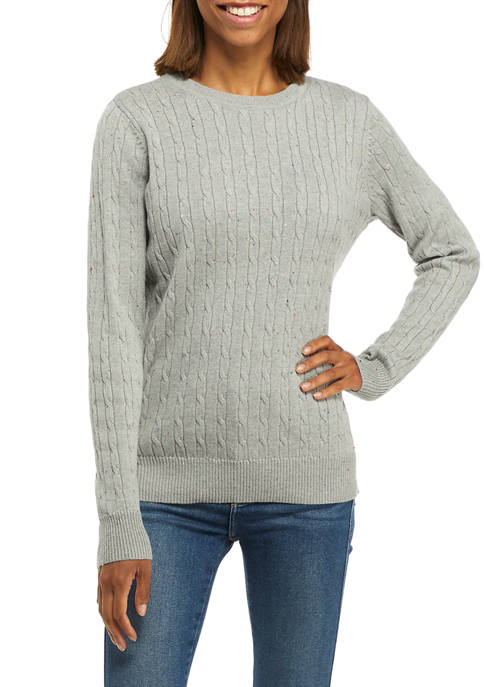 Kim Rogers® Womens Long Sleeve Cable Knit Crew