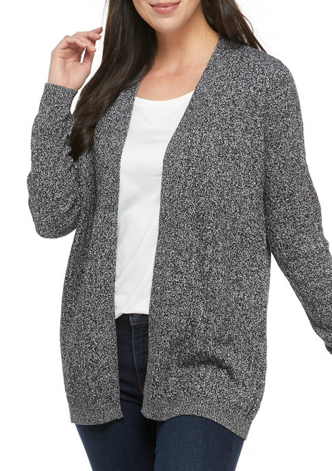 Kim Rogers® Womens Long Sleeve Cable Knit Marbled