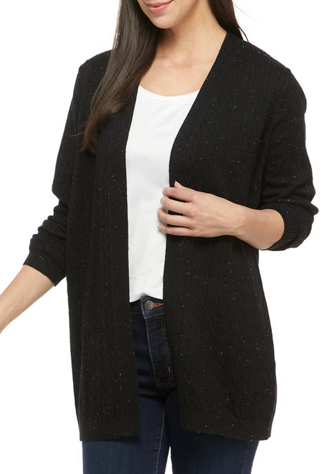 Kim Rogers® Womens Long Sleeve Cable Knit Cardigan