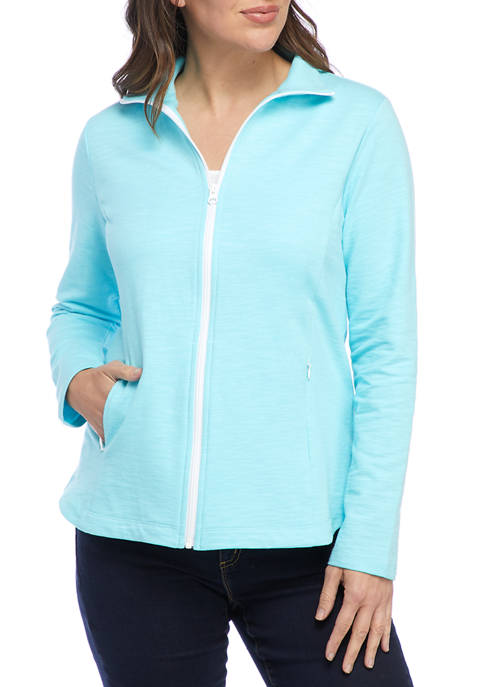 Kim Rogers® Womens Long Sleeve Mock Neck Zip