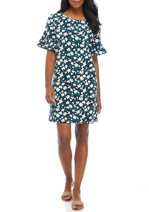 Kim Rogers® Womens Printed Elbow Bell Sleeve Dress