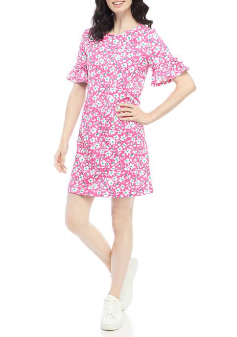 Kim Rogers® Womens Printed Elbow Bell Sleeve Dress