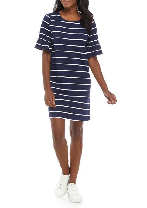 Kim Rogers® Womens Bell Sleeve Striped Shift Dress