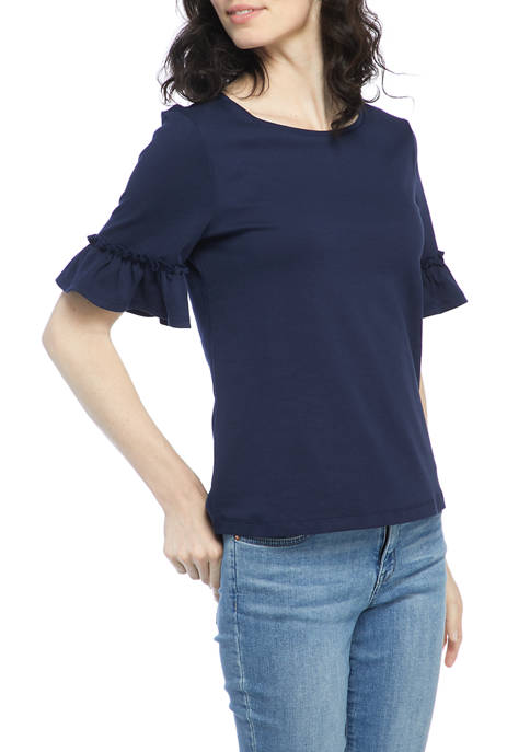Kim Rogers® Womens Elbow Bell Sleeve Top