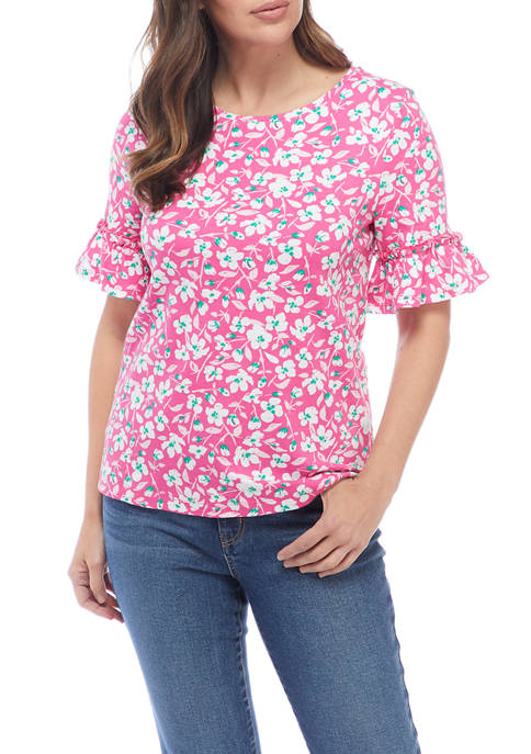 Kim Rogers® Womens Elbow Bell Sleeve Printed Top