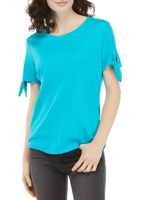 Kim Rogers® Womens Short Tie Sleeve T-Shirt