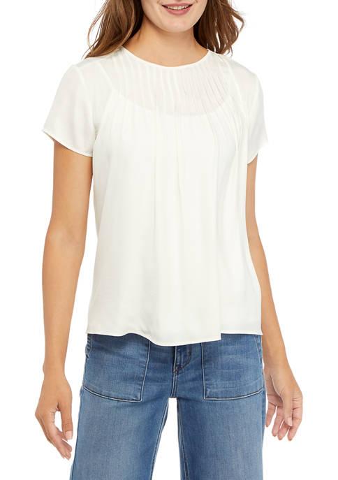 Kim Rogers® Womens Short Sleeve Pin Tuck T-Shirt
