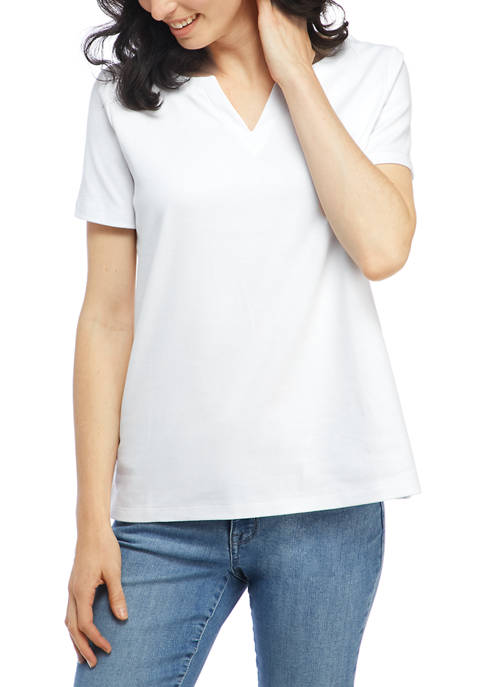 Kim Rogers® Womens Short Sleeve Split Neck Top