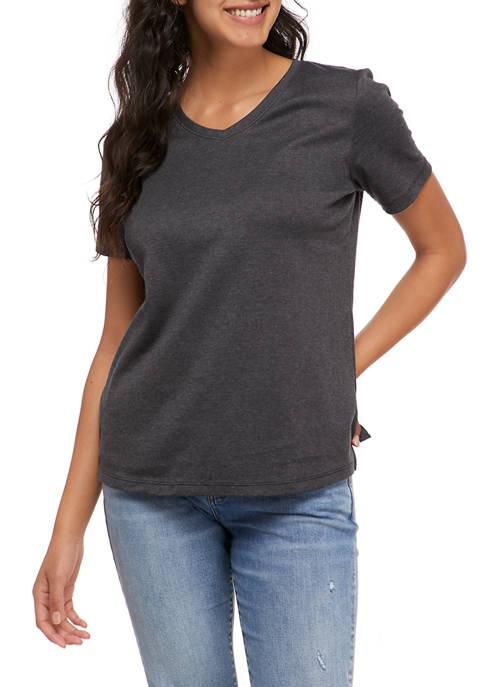 Kim Rogers® Womens Short Sleeve V-Neck T-Shirt
