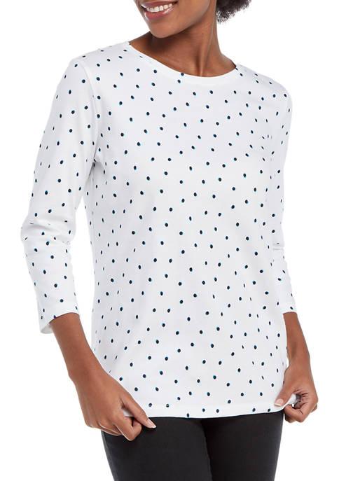 Kim Rogers® Womens 3/4 Sleeve Printed Top