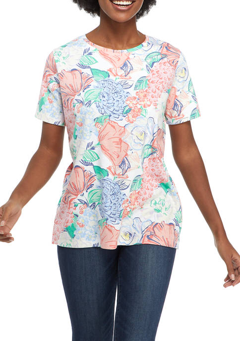 Kim Rogers® Womens Short Sleeve Cotton T-Shirt