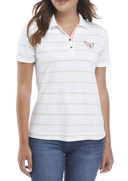 Kim Rogers® Womens Short Sleeve Embroidered Polo Shirt
