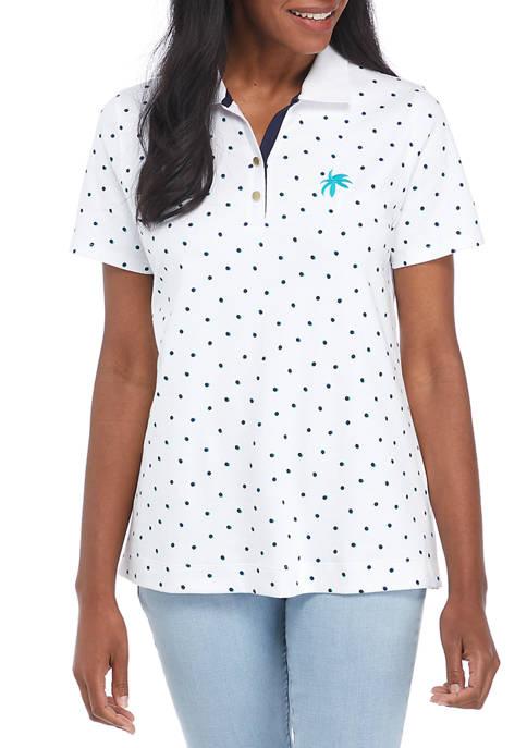 Kim Rogers® Womens Embroidered Print Polo Shirt