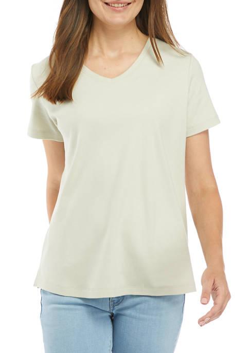 Kim Rogers® Womens Short Sleeve Fashion Solid Top