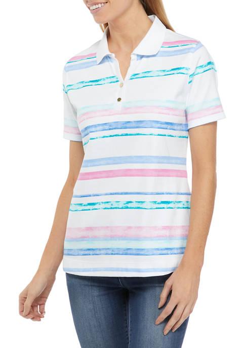 Kim Rogers® Womens Short Sleeve Print Polo Shirt