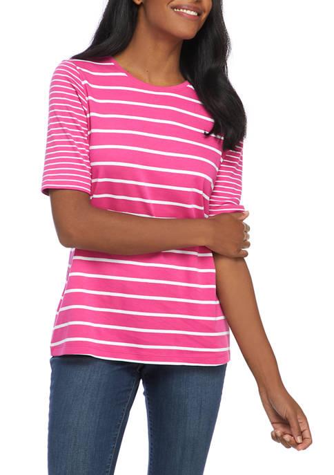 Kim Rogers® Womens Elbow Sleeve Twin Stripe T-Shirt