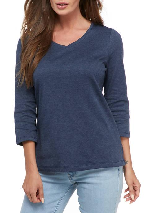 Kim Rogers® Womens 3/4 Sleeve Part Dye T-Shirt