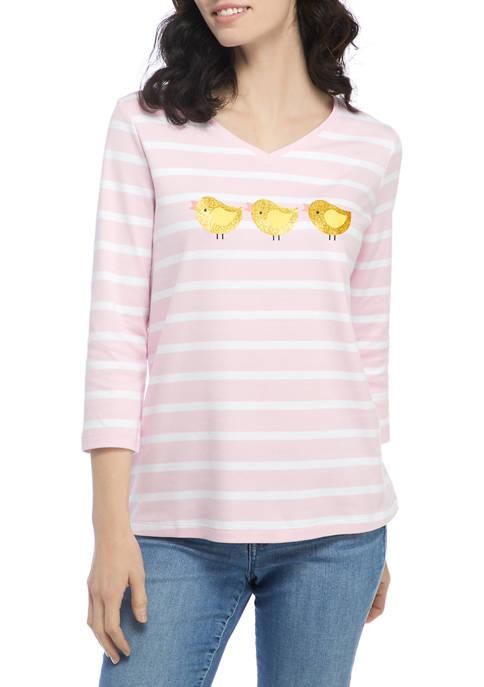 Kim Rogers® Womens 3/4 Sleeve Graphic T-Shirt