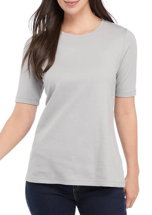 Kim Rogers® Womens Elbow Sleeve Part Dye T-Shirt