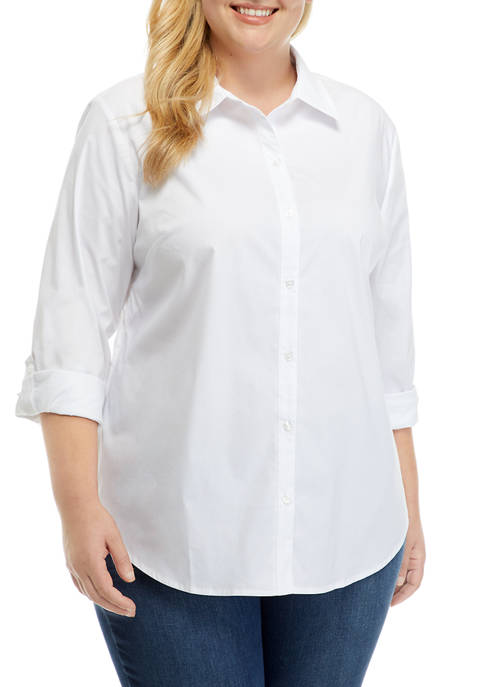 Plus Size Roll Tab Button Up Shirt