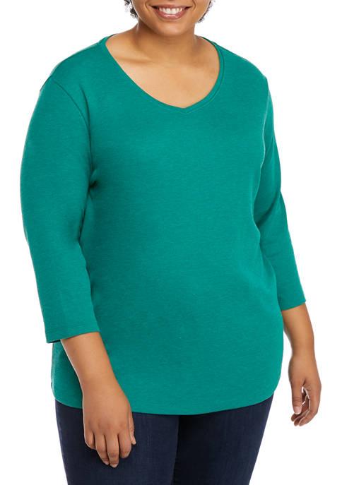 Plus Size Perfectly Soft 3/4 Sleeve V-Neck T-Shirt
