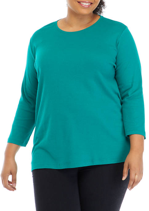 Plus Size Perfectly Soft 3/4 Sleeve Crew Neck T-Shirt