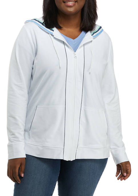 Kim Rogers® Plus Size Long Sleeve Knit Hoodie