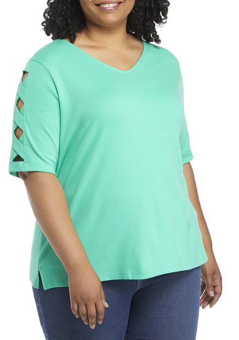 Kim Rogers® Plus Size V-Neck Ladder Sleeve Top