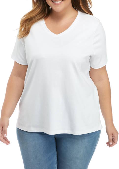 Kim Rogers® Plus Size Short Sleeve V-Neck Shirt
