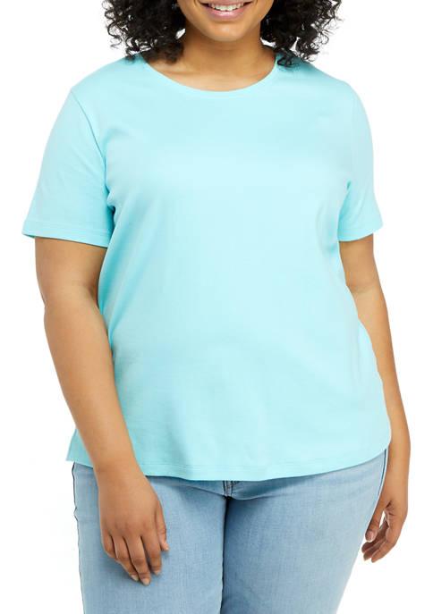 Kim Rogers® Plus Size Solid Fashion T-Shirt