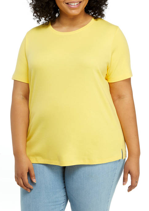 Plus Size Solid Fashion T-Shirt