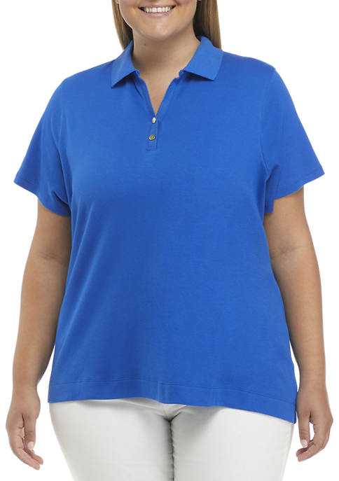 Kim Rogers® Plus Size Short Sleeve Fashion Polo