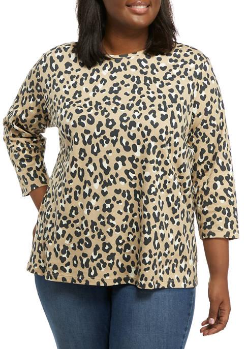 Kim Rogers® Plus Size 3/4 Sleeve Printed Crew