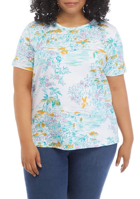 Kim Rogers® Plus Size Short Sleeve Print T-Shirt