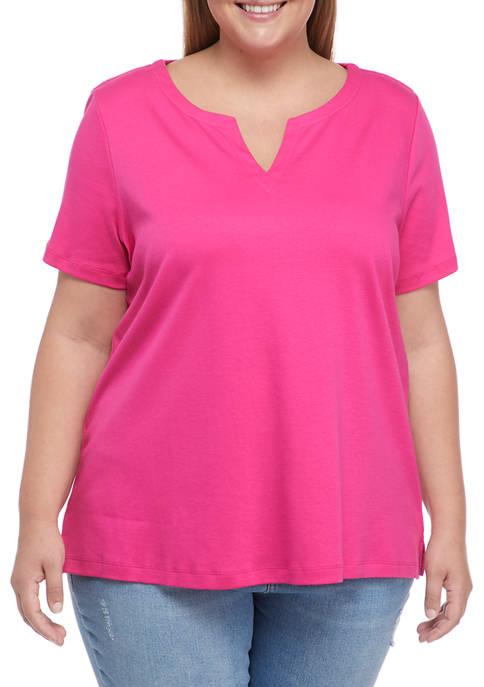 Kim Rogers® Plus Size Short Sleeve Split Neck